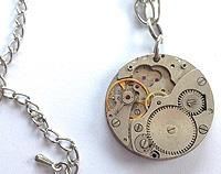 Altered timepiece - Large watch movement pendant on silver stainless steel chain