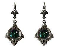 Dainty Nouveau Earrings - Floral and Vine Settings with Vintage Glass